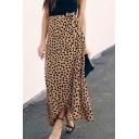 Summer Stylish Womens Leopard Print Tie-Waist Maxi Wrap Skirt for Women