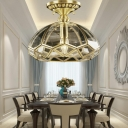 Single-Bulb Hemisphere Ceiling Lighting Vintage Bronze Clear Glass Semi Flush Light for Dining Room