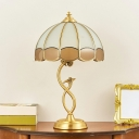 Opal Frosted Glass Scalloped Shade Night Lamp Retro 1-Bulb Bedroom Table Light in Bronze