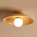 Wooden Saucer Shaped Flushmount Light Simplicity 1 Bulb Semi-Flush Ceiling Light for Corridor