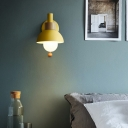 Flashlight Shaped Wall Light Fixture Macaron Metal Single Bedroom Sconce Lamp with Ball Pull Chain