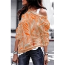 Fashionable Womens T-Shirt Zigzag Pattern Long Sleeve Boat Neck Loose Fit Tee Shirt