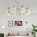 Living Room Chandelier Nordic White and Wood Hanging Light with Bell Metal Shade