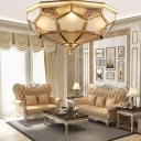 Frosted Glass Panes Brass Ceiling Fixture Bowl Shaped Traditional Flush Mounted Light