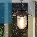 Capsule Outdoor Pendant Lighting Rustic Clear Glass 1 Head Black Hanging Lamp with Cage