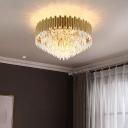 Conical K9 Strip Crystal Flush Light Postmodern Style Gold Flush Ceiling Light for Living Room
