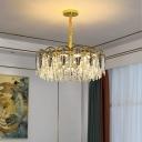 Smoke Grey Crystal Foliage Chandelier Postmodern Brass Finish Pendant Lighting for Living Room