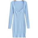 Womens Dress Stylish Plain Color Split Hem Mini Square Neck Slim Fit Long Sleeve Knitted Dress