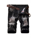 Guys Stylish Vintage Ripped Patched Stretch Fit Jeans Denim Shorts