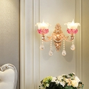 Flower Wall Mount Lighting Retro Gold Frosted Glass Sconce Lamp with K9 Crystal Drops