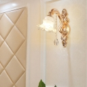 Frosted White Glass Wall Sconce Vintage Gold Finish Blossom Corridor Wall Mounted Lamp