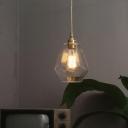 Gold Single-Bulb Pendant Lamp Nautical Clear Glass Gemstone Ceiling Hang Light for Living Room