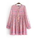Leisure Womens Dress Flower Printed Long Sleeve V-neck Tied Short Swing Dress in Pink