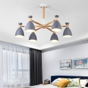 Rotatable Cup Shaped Suspension Lighting Macaron Metal Bedroom Chandelier with Wooden Arm