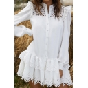 Womens Dress Stylish Solid Color Hollow-out Ruffle Trim Single Breasted Mini A-Line Oversize Long Sleeve Shirt Dress