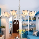 White Arcs Style Chandelier Mediterranean Metal Pendant Lighting with Conical Frosted Glass Shade