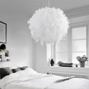Spherical Bedroom Pendant Lamp Feather Single-Bulb Nordic Style Hanging Ceiling Light