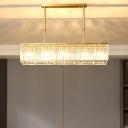 Gold Rectangular Island Light Minimalistic Crystal Prism Hanging Lamp for Restaurant