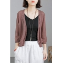 Simple Womens Cardigan Solid Color Long Sleeve Button Up Relaxed Cardigan