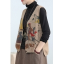 Leisure Womens Vest Cartoon Print Sleeveless Button Up Relaxed Fit Knit Vest