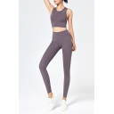 Womens Co-ord Fitness Nude Feeling No Awkward Line Sleeveless Round Neck Cropped Tank Top High Rise Skinny Fitted Leggings Set