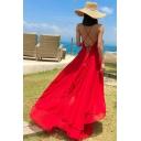 Womens Dress Stylish Plain Color Sleeveless Deep V Neck Strap Floor Length A-Line Backless Beach Dress