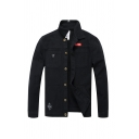 Mens Popular Camo Print Badge Patched Lapel Long Sleeve Button Front Slim Fit Denim Jacket Coat with Pocket