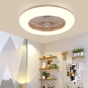 Acrylic Doughnut Semi Flush Mount Lamp Kids Living Room LED Ceiling Fan Light Fixture in White/Grey with 5 Blades, 21.5