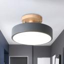 Round Metal Semi Flushmount Modern Nordic White/Green/Grey Finsih LED Flush Mount Ceiling Light with Wood Canopy