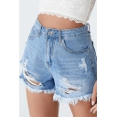 Summer Trendy Distressed Ripped Skinny Fit Blue Denim Hot Pants Shorts