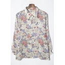 Fancy Ladies Long Sleeve Notch Collar Button Down All Over Floral Printed Loose Fit Shirt in White