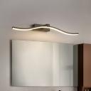 Slim Wave Wall Vanity Light Modern Metallic Led Bathroom Wall Light Over Mirror