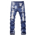 Men's Cool Fashion Denim Washed Regular Fit Casual Frayed Ripped Jeans