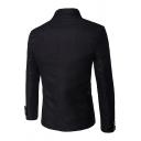 Mens Charming Plain Long Sleeve Double Row Button Slim Fit Retro Party Suit Jacket Military Blazer