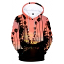 Fashion Simple Letter LA Tropical Plants Printed Long Sleeve Pullover Hoodie