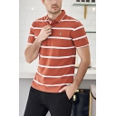 Fancy Men's Polo Shirt Striped Embroidered Spread Collar Short Sleeve Regular Fit Polo Shirt