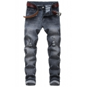 Mens Cool Skull Embroidery Distressed Washed Pleated Knee Grey Biker Jeans
