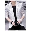 Breathable Three-Quarter Sleeve Notch Lapel Single Button Slim Fit Mesh Blazer Jacket for Men