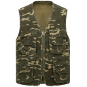 New Fashion Camouflage Printed Outdoor Multi-Pocket Zip Up Photography Vest Fishing Vest