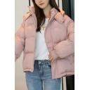 Korean Style Girls' Long Sleeve Hooded Zipper Press Button Front Pockets Side Plain Oversize Puffer Coat