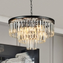 Clear Crystal Fountain Chandelier Modern Fashion 6 Lights Decorative Suspended Light in Black
