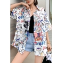 Creative Girls Allover Mixed Cartoon Pattern Short Sleeve Point Collar Button down Relaxed Shirt Top in White
