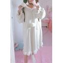 Cute Cat Ear Hooded Long Sleeve Pompom Embellished Ruffle Hem Midi Shift Fleece Pajama Dress