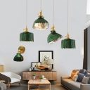 Retro Bowl/Cylinder Pendant Light Kit 1-Light Green Twisted/Wavy Glass Ceiling Hang Lamp in Brass for Bedroom