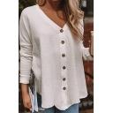 Womens V-Neck Long Sleeve Simple Plain Button Down White Shirt Blouse