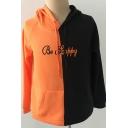 Halloween Color Block Pumpkin Print Long Sleeve Black Hoodie
