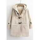 Retro Womens Coat Double Flap Pockets Front Toggle Button Detail Loose Fit Long Sleeve Hooded Woolen Coat