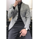 Basic Mens Casual Jacket Houndstooth Pattern Double Breasted Regular Fit Lapel Collar Long Sleeve Suit Jacket