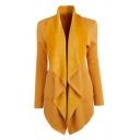 Chic Plain Waterfall Collar Open Front Long Sleeve Coat