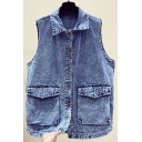 Womens Vest Stylish Faded Wash Flap Pockets Button up Sleeveless Loose Turn down Collar Denim Vest